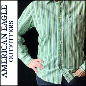 AEO Vintage Slim Fit Green/Blue Button Down Shirt